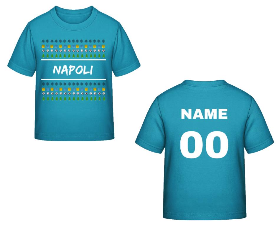 58f1dfefe627 SSC Neapol vianočné tričko modré detské s vlastným menom a číslom