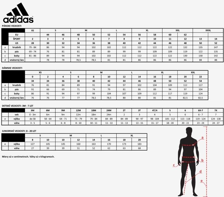 veľkosti Adidas